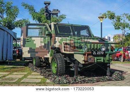 Labuan,Malaysia-Feb 25,2017:Malaysian Armed Forces armored vehicle with Rocket Launcher on Toyota-based 4