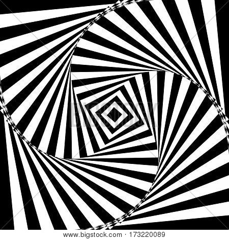 Vector illustration of black and white geometric background of increasing and rotating square creates an optical illusion.