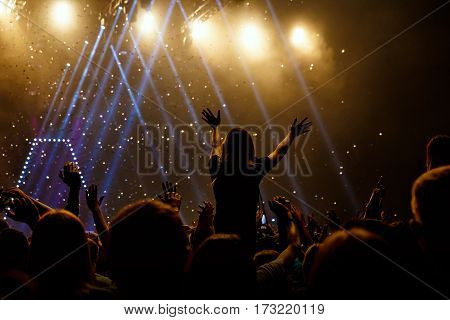 Silhouettes Of Concert Crowd