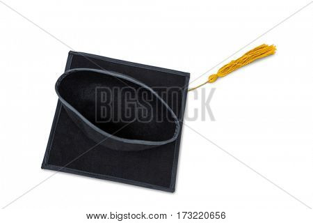 Close-up of mortar board against white background