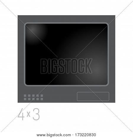 TV screen lcd retro monitor template electronic device technology digital size diagonal display and video vintage plasma home computer vector illustration. Entertainment high liquid movie equipment.