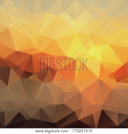 Bright Gradient Abstract Texture of Asymmetric Triangles. Background of Geometric Shapes Warm Sunny Colors. Geometric Concept.