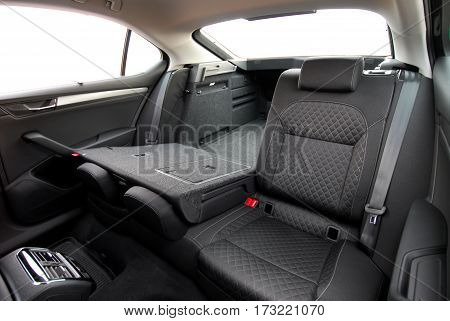 passenger car trunk with rear seats folded