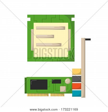 CPU microprocessors isolated microchip hardware component equipment and integrated connection communication memory internet technology vector illustration. Circuit electronic device.