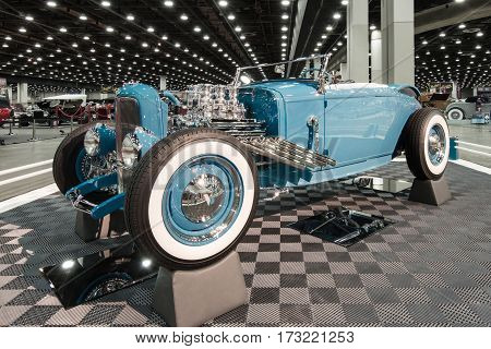 DETROIT MI/USA - February 24 2017: A 1931 Ford roadster interpretation on display at the Detroit Autorama, a showcase of custom and restored cars.