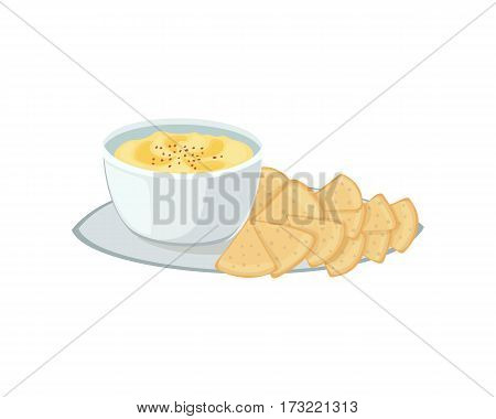 Hummus jewish food appetizer mashed chickpeas with tahin traditional meal cuisine parsley matzah and vegetarian delicious lunch soup vector illustration. Holiday homemade matzo.
