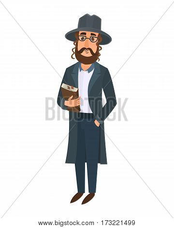 Orthodox jewish man east tradition israeli religious belief judaism and holiday comic hebrew character symbol ethnic judaic people vector illustration. Synagogue male hasid character pray.