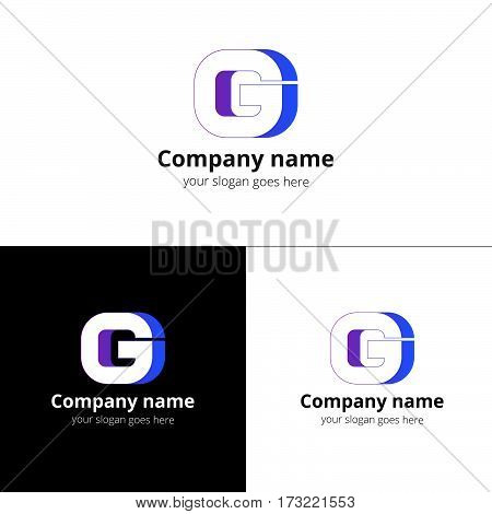 G vector logo. The letter g logotype design with gradient on white and black color background.