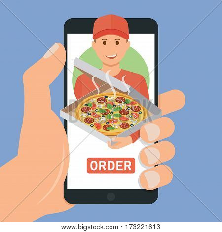 Pizza delivery service. E-buy pizza using a smartphone