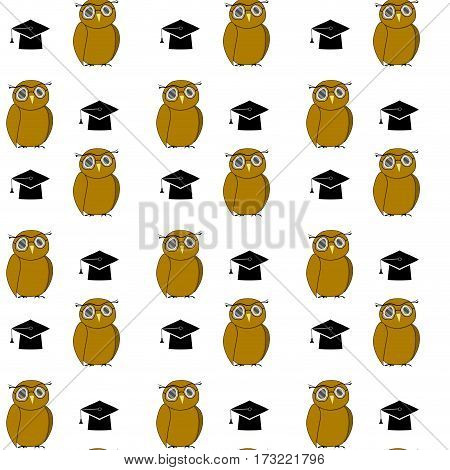 Education pattern woth owl and hat. Intelligent animal bachelor graduation and education university. Vector illustration