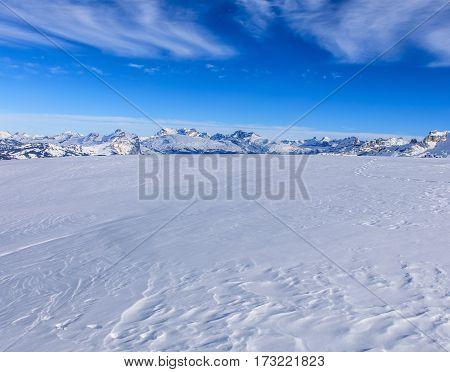 View from Fronalpstock mountain in the Swiss canton of Schwyz in winter.