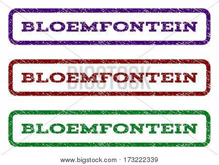 Bloemfontein watermark stamp. Text caption inside rounded rectangle frame with grunge design style. Vector variants are indigo blue red green ink colors. Rubber seal stamp with scratched texture.