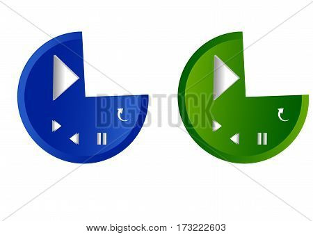 Blue and green for player music buttons.