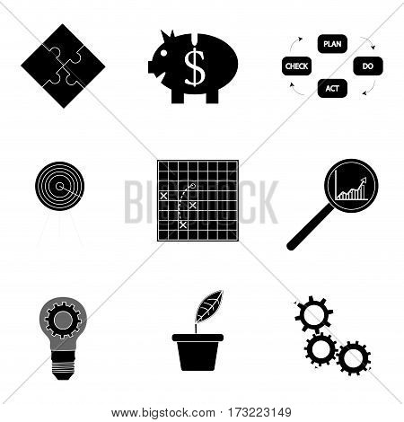 Black silhouette business icons. Analysis and tactic productivity development and optimization vector illustration