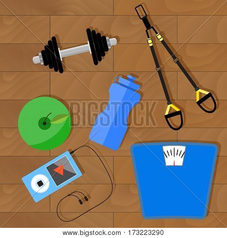 Innovative way to lose weight with trx and weight. Vector illustration