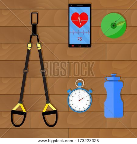 Effective training with trx. Working endurance and gymnastic lifting kettlebell vector illustration