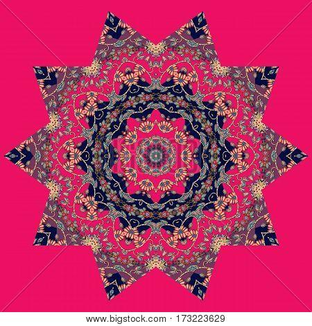 Mandala on square crimson background. Bright vector illustration.