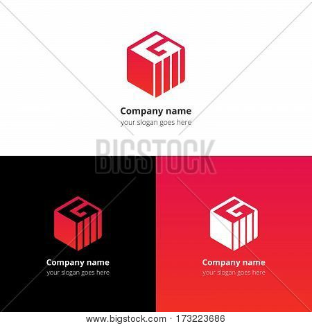 Letter G in Cube logo, icon with trend red-pink gradient color. Minimalism flat vector logotype design template.
