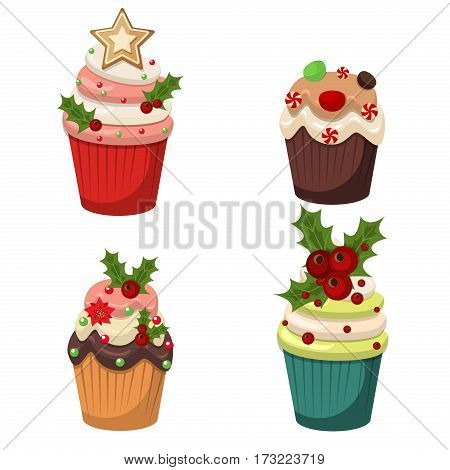 Set of cupcakes and muffins vector. Sweet muffin cake food dessert celebration party winter baking. Xmas decorated festive frosting cupcakes holidays sugar food. Cream delicious chocolate snack.