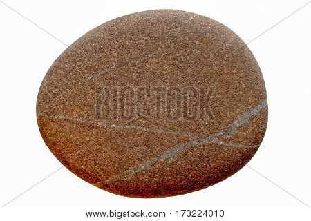 Round Oval Stone Isolated On A White Background