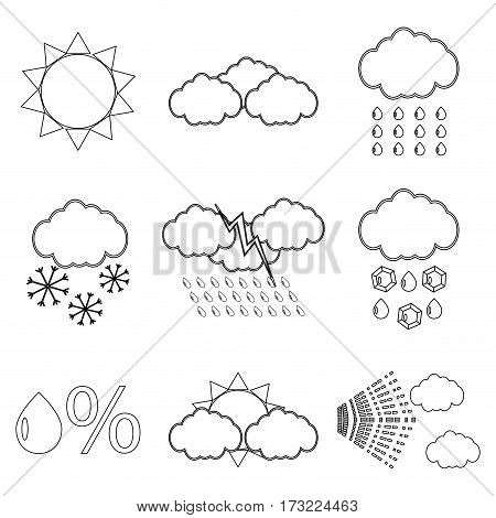 Weather icon set linear. Snowflake and lightning snow and rain vector illustration
