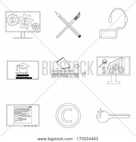 Seo icon linear set. Collaboration and coworking copywriting work. Vector illustration