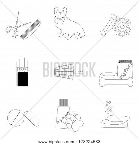 Pet care linear icons set. Accessories to pet grooming vector illustration