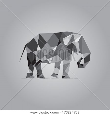 Elephant in polygon style vector. Cubist style logo. Gray colors