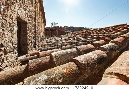 Close Up Old Terracotta Tile Roof Texture