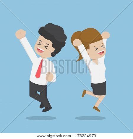 Business People Celebrating Their Success By Jumping