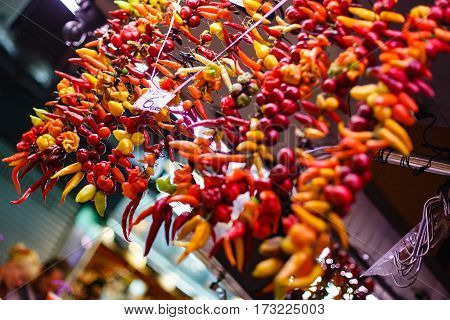 Dried Chilli Pepper At The Market Counter