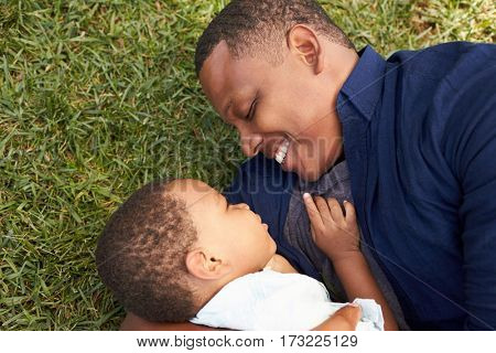 Father Playing With Young Son On Grass In Summer Park