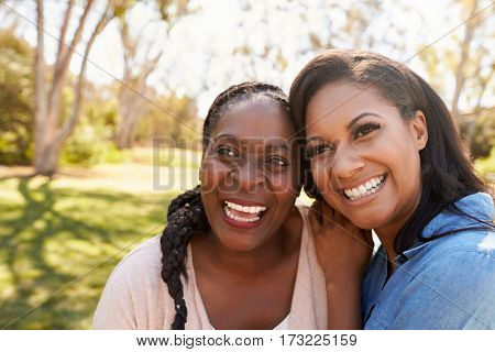 Mother And Adult Daughter In Park Together