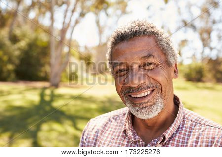 Outdoor Head And Shoulders Portrait Of Mature Man In Park