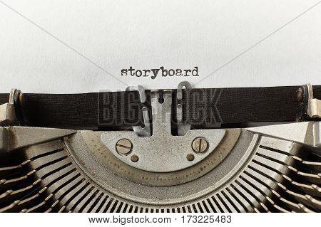 storyboard typed words on a vintage typewriter