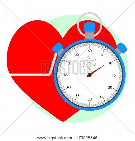 Heart pulse icon. App icon for healthy care vector illustration of stopwatch for measurement