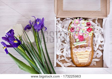 Cookies-flowers gift on Mother's Day Women's Day gift surprise flowers in box