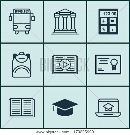 Set Of 9 Education Icons. Includes Haversack, Distance Learning, Graduation And Other Symbols. Beautiful Design Elements.