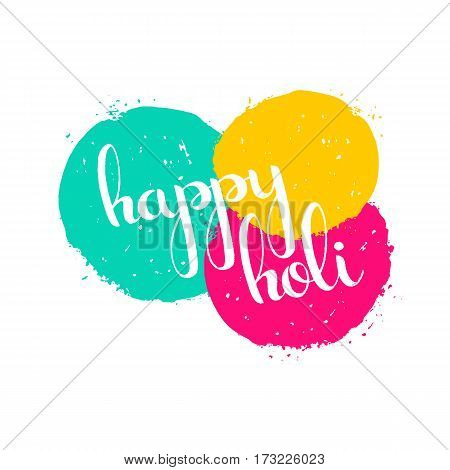 Happy Holi handwritten lettering with paint splashes. Spring festival of colors. Modern vector hand drawn calligraphy for your poster banner postcard invitation or greeting card design