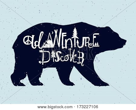 Vintage style bear with slogan. Discovery and adventure. Tattoo, travel, adventure, wildlife symbol. The great outdoors. Isolated vector illustration.