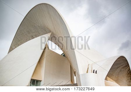 SANTA CRUZ DE TENERIFE SPAIN - 12.02.2017: Auditorio de Tenerife in Santa Cruz in Tenerife Canary Islands Spain. This auditorium was designed by famous architect Santiago Calatrava