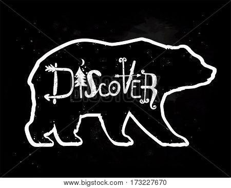 Vintage style bear with slogan. Discover. Tattoo and travel, adventure, wildlife symbol. The great outdoors. Isolated vector illustration.