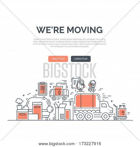 Web design template with line icons symbols of delivery, moving service or trucking industry. Ideal for business layout, or announcement about the move. Clean and minimalistic concept.