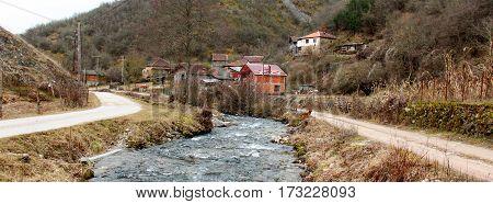 Mountain Village Dobrenoec Near City Of Kichevo,macedonia