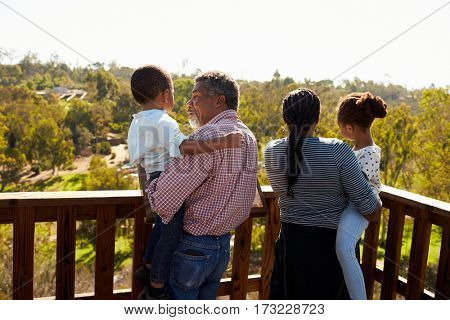Grandparents And Grandchildren Standing On Observation Deck poster