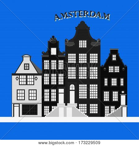 Old Typical Netherlands houses. Amsterdam, Netherlands. Vector illustration