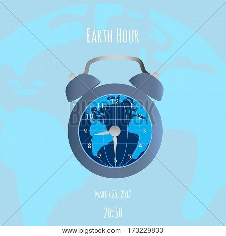 Earth and alarm clock on blue background. Could be used in Earth Hour vector illustration.