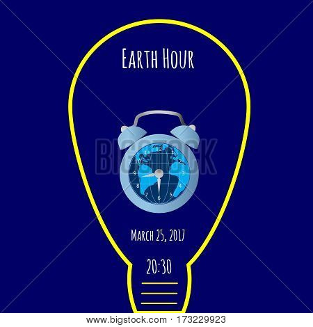 Earth, bulb light and alarm clock on blue background. Could be used in Earth Hour vector illustration.