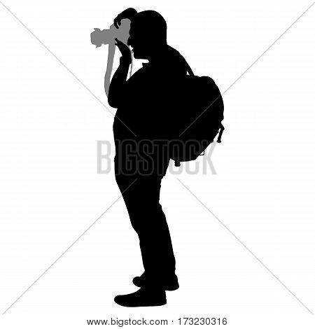 Photographer silhouette on the white background for your design