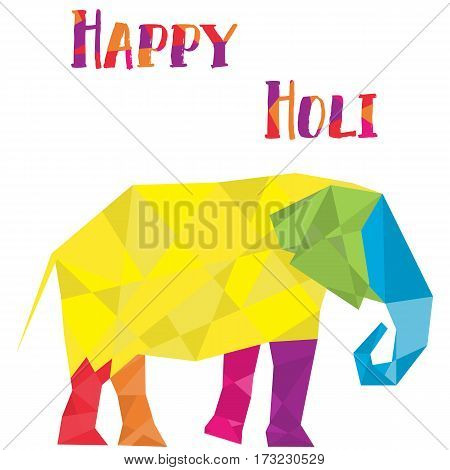 Elephant in polygon style vector. Cubist style logo. Multicolored. Could be used in Holi festival thematics